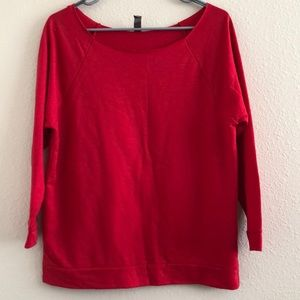Off the Shoulder Red Crewneck